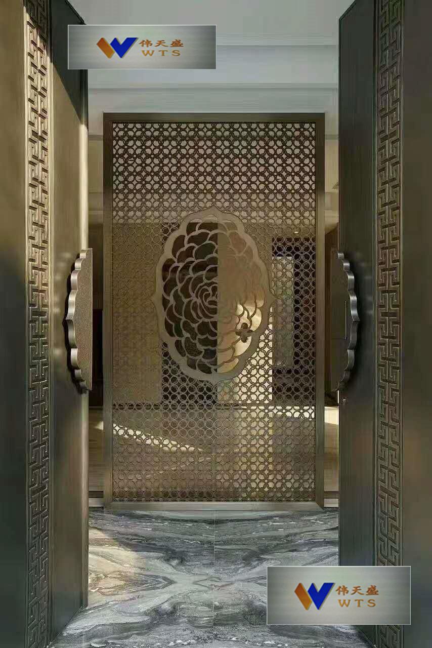 古铜色雕花屏风产品大图