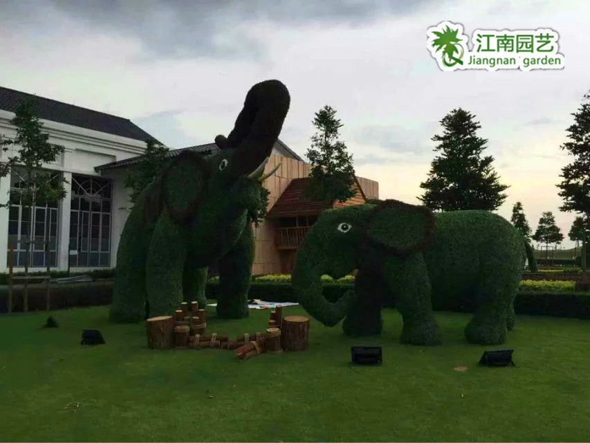 周口江南园艺景观绿雕专业生产厂家,仿真大象,孔雀定制安装批发产品大图