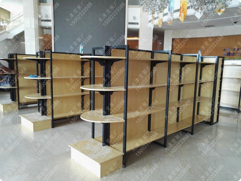 新款钢木结构货架超市货架母婴店货架商场货架天津货架厂高清图片