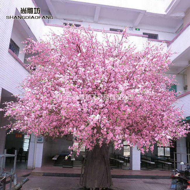 大型玻璃钢雕塑仿真植物景观户外装饰品摆件桃树定制高清图片 高清