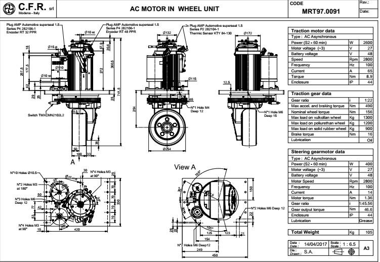 供应agv小车叉车专用驱动器介绍意大利cfr驱动轮mrt20