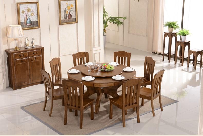 [供应] 水曲柳大圆桌实木圆餐桌饭桌家用6人小户型餐桌椅组合