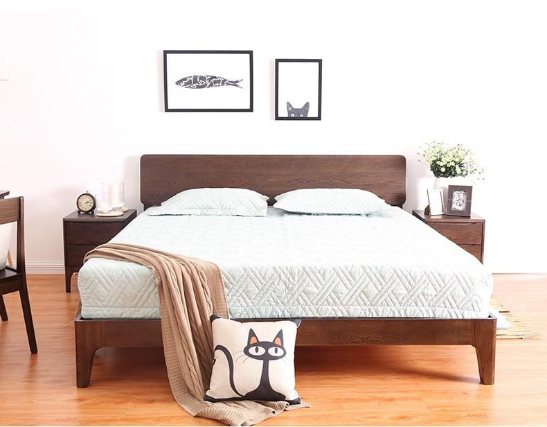 白橡木床现代简约卧室家具北欧纯全实木双人床销售产品图片高清大图